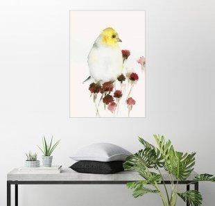 Posterlounge Wandbild - Dearpumpernickel »Gelber Vogel und Blüten«