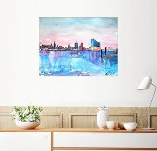 Posterlounge Wandbild - M. Bleichner »Hamburg Hafen City Skyline mit Elbphilharmonie«