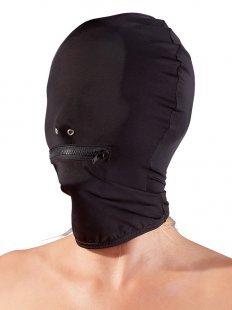 Kopfmaske aus dehnbarer Mikrofaser mit Mundreißverschluss