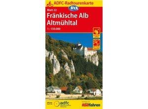 ADFC-Radtourenkarte 22 Fränkische Alb - 12. Auflage 2016 - Fahrradkarten - BVA Bielefelder Verlag