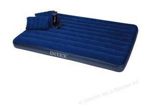 Luftbett Intex Classic Downy Blue Set Airbed Queen, 203 x 152 x 22cm, mit 2 Kissen, mit Luftpumpe