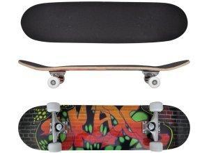 vidaXL Ovales Skateboard 9-lagiges Ahornholz Graffiti-Design 8´´