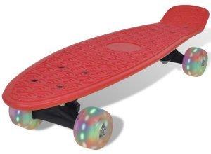 vidaXL Skateboard, Rot Retro mit LED Rollen