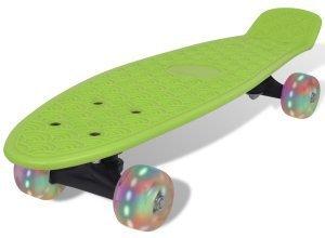 vidaXL Skateboard, Grün Retro mit LED Rollen