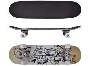 vidaXL Ovales Skateboard 9-lagiges Ahornholz Drachen-Design 8´´