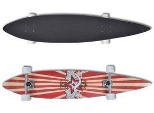 vidaXL Longboard Skateboard Streetsurfer Sterne Rot 9´´