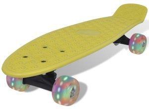 vidaXL Skateboard, Gelb Retro mit LED Rollen