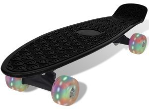 vidaXL Skateboard, Schwarz Retro mit LED Rollen