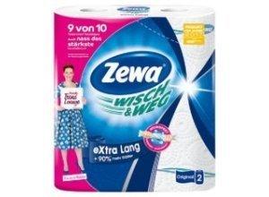 Zewa Wisch & Weg Küchenrolle eXtra Lang Original , Das saugstärkste Haushaltstuch - wringfest, nassfest, schrubbfest, 1 Packung = 2 Rollen ´´eXtra Lang´´ zu je 86 Blatt