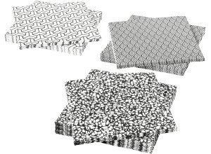 VÅRKUL, Papierserviette, schwarz/weiß
