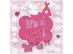 Papierserviette ´´It's a Girl´´, 25 x 25 cm, 20 Stück