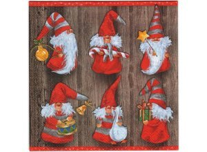 Servietten, 33x33cm, 3-lagig - VE 20 Stück, Weihnachtswichtel