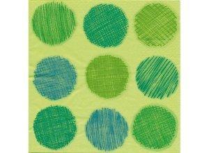 Papierserviette ´´Punkte´´, grün, 33 x 33 cm, 20 Stück