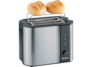 Severin Toaster AT 2589, 2 kurze Schlitze, für 2 Scheiben, 800 W, silberfarben