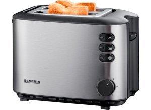 Severin Toaster AT 2514, 2 kurze Schlitze, für 2 Scheiben, 850 W, silberfarben