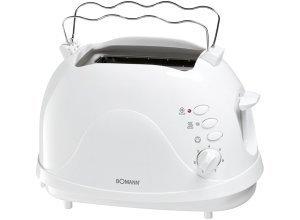 BOMANN 2 Scheiben-Toaster mit Brötchenaufsatz, Krümelschublade »TA 246 CB«, weiß