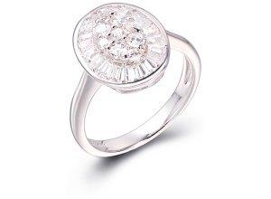 Ring aus weißgoldplattiertem Silber mit Zirkonia - 52