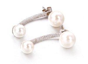 Ohrringe aus weißgoldplattiertem Silber mit Zirkonia