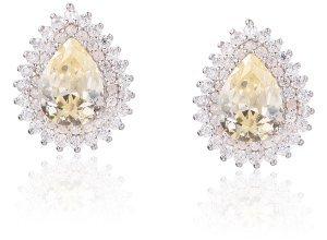 Ohrringe aus goldplattiertem Silber und schwarz mit Zirkonia