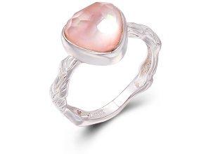 Ring aus weißgoldplattiertem Silber mit Rosenquarz - 54