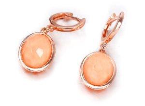 Ohrringe aus rotgoldplattiertem Silber mit Koralle