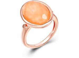 Ring aus rotgoldplattiertem Silber mit Koralle - 56