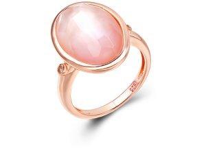 Ring aus rotgoldplattiertem Silber mit Perlmutt - 56