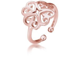 Elli Fingerring »Ornament Cut-Out Blume 925 Silber«, goldfarben