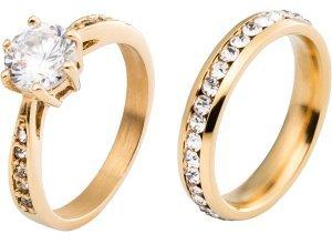2er-Pack Ringe in gold für Damen von bonprix