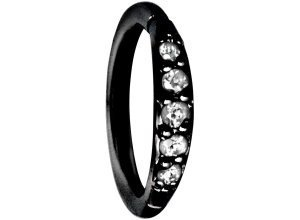 Steel Basicline® Pave Setting Crystals Top Piercing schwarz