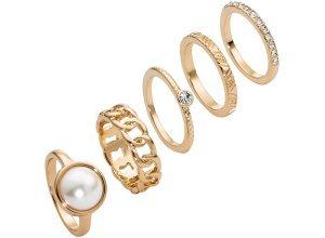 5-tlg. Ring-Set in gold für Damen von bonprix