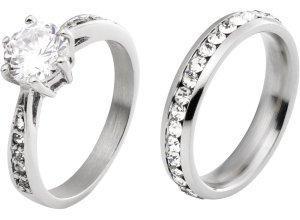 2er-Pack Ringe in silber für Damen von bonprix