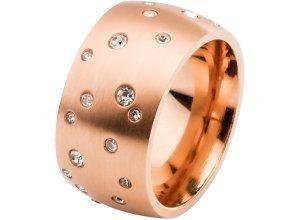 Edelstahl Ring mit Strasssteinen in gold für Damen von bonprix