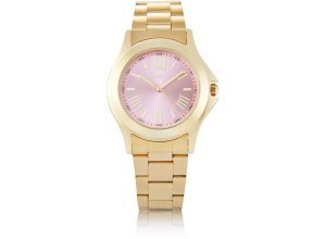 Coco Milano Armbanduhr, mit pastellig roséfarbenen Zifferblatt, goldfarben/rosa