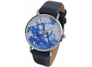 Heine Armbanduhr mit marmoriertem Ziffernblatt, blau