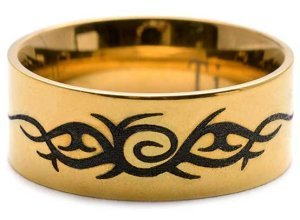 Firetti Fingerring »Drache Tribal Tattoo« mit Lasergravur, goldfarben