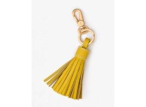 Schlüsselring aus Leder mit Quaste Yellow Damen Boden