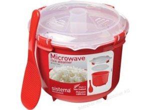 Sistema Mikrowellengeschirr 1110, Kunststoff rot, Reiskocher 2,6 Liter mit Löffel