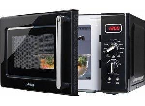Privileg Retro-Mikrowelle, mit Grill, 20 Liter Garraum, 700 Watt, schwarz, schwarz