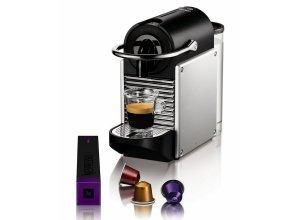 Nespresso Kapselmaschine Pixie EN 125, nur 11 cm breit, silberfarben