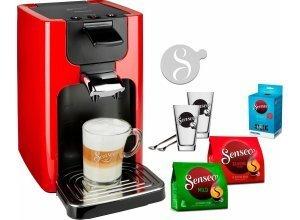 Senseo Kaffeepadmaschine SENSEO® Quadrante HD7865/80, inkl. Gratis-Zugaben im Wert von 26,- UVP, rot