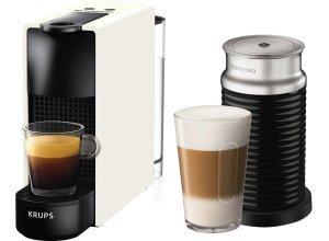 Nespresso Kapselmaschine NESPRESSO XN1111 Essenza Mini Bundle, mit Aeroccino Milchaufschäumer, weiß