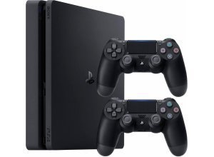 PlayStation 4 (PS4) Slim 500GB + 2. Wireless Controller, schwarz