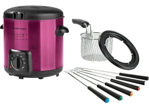 GOURMETmaxx Fritteuse Deluxe 840W, 840 W, Fassungsvermögen 0,9 l, auch für Fondue geeignet, rosa