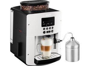 Krups Kaffeevollautomat EA8161, 1,8l Tank, Kegelmahlwerk, inkl. Edelstahl-Milchbehälter, weiß