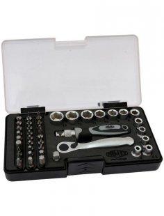 Bit- und Steckschlüsselsatz, mit 72-Zahn Mini-Knarre, 45-teilig