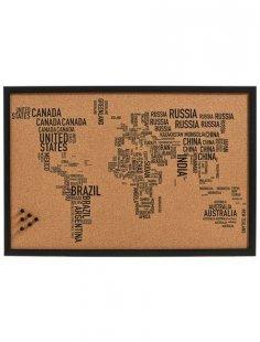 Pinbord »World Letters«, Kork, 60x40 cm