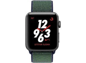 Apple Nike+ Series 3 GPS + Cellular, Aluminiumgehäuse, 42mm mit Sportarmband Loop Smartwatch (watchOS 4), grau