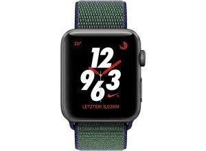 Apple Nike+ Series 3 GPS + Cellular, Aluminiumgehäuse, 38mm mit Sportarmband Loop Smartwatch (watchOS 4), grau