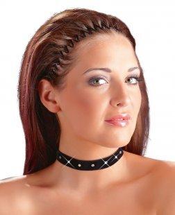 Halsband aus Samt mit Strasselementen, mit Klettverschluss
